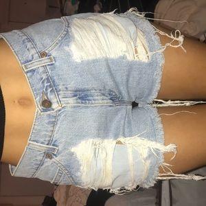 Distressed Levi's jean shorts